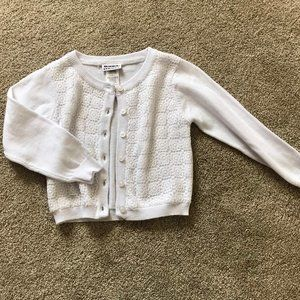 Girls White Button-up Sweater